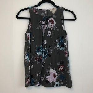 Loft Sleeveless Blouse Gray Pink Blue Floral XSP